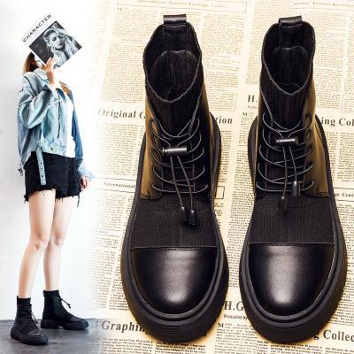 2020 Kış Çizme Kadın Ayakkabı Kadın Çizme Moda Düz Yuvarlak PU Ayak bileği 2019 Kış Elastik Dantel Siyah Rahat