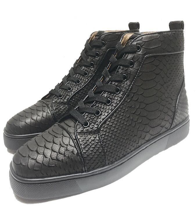 Großhandel Kostenloser Versand Rote Untere Designer Schuhe !! Top Marke Rote Sohle Sneakers Herren Trainer Schwarz Lackleder Python High Tops Von
