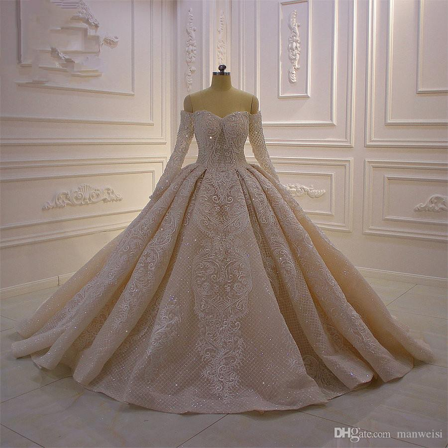 Off Shoulder Ball Gown Wedding Dresses Long Sleeves Lace Appliqued Bridal Dresses Beaded Sequins Plus Size Wedding Gowns robe de mariee