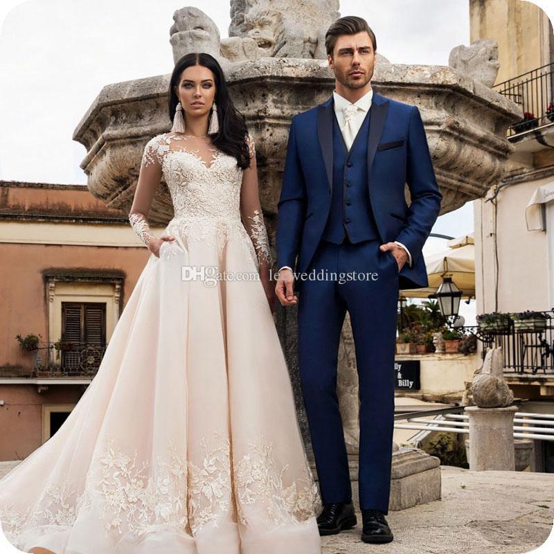 Navy Blue Handsome Men Suits For Wedding Suits Groomsme Custom Made Slim Fit Formal Tuxedos Groom Prom Best Man Blazer Jacket+Pants+Vest DHL