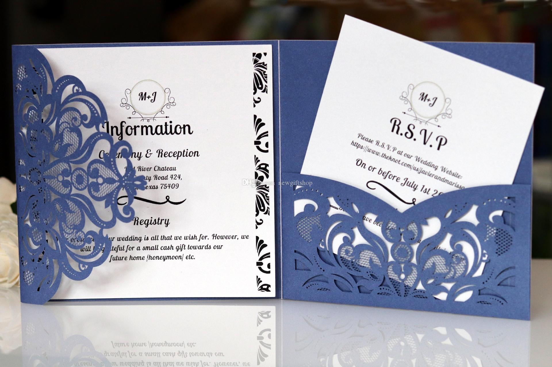 Blue Pocket Wedding Invite Laser Cut Trifold Flower Invitations for Sixteen Anniversay Engagement with RSVP Card Free Shipping