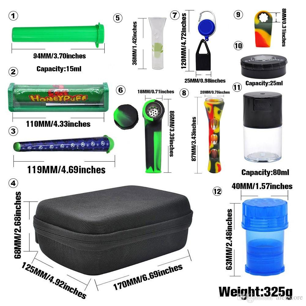 Formax420 Kits Pipes Set With Herb Grinder 12 Pieces Glass Cup Bowl Container Storage Case Roller Smoking Accessories Carry Zipper Bag