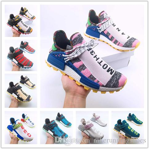 2018 Wholesale Human Race Hu trail Running Shoes Men Women Pharrell Williams Yellow noble ink core Black Red Runner Sneaker Shoes