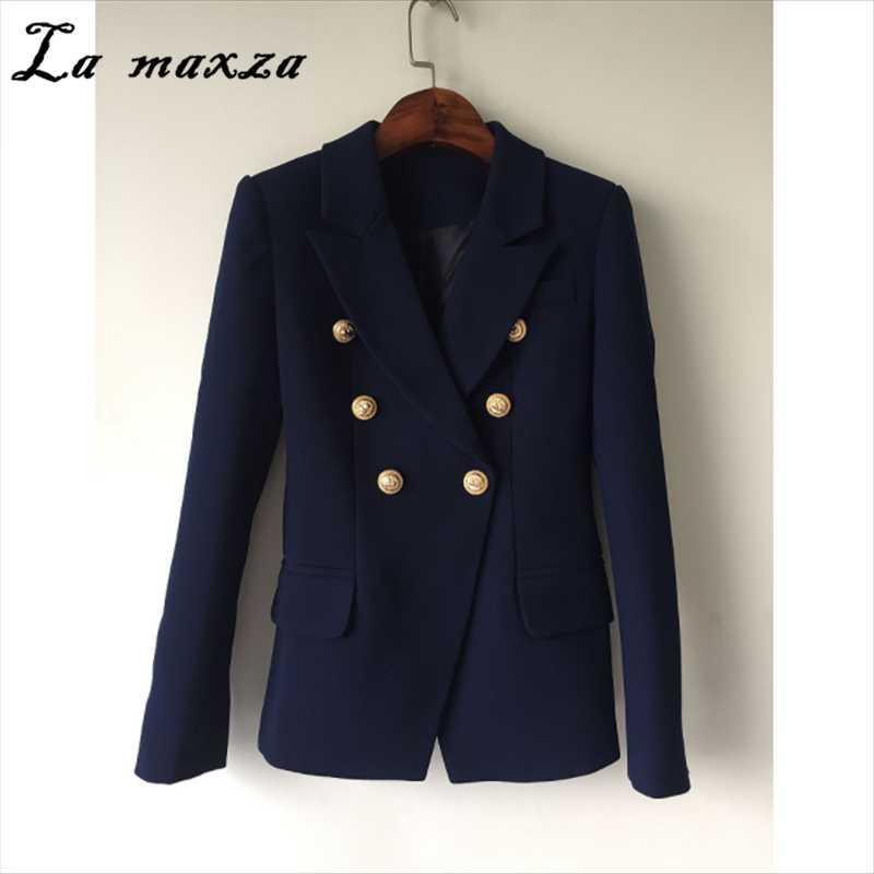 2020 블루 더블 브레스트 자켓 코트 우아한 패션 의류 슬림핏 플러스 사이즈 여성 자켓