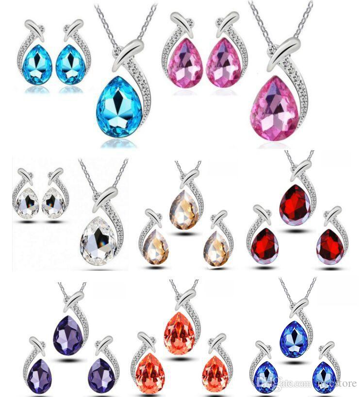 Fashion High Quality 925 Silver Fish beauty Diamond jewelry Zircon Crystal Earring Necklace Set Valentine's Day Holiday Gifts