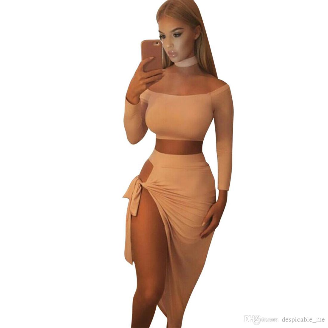 2 Piece Set Women Skirt+Long Sleeve Top Sexy Two Piece Set halter slash neck shirt top+mini Skirt Autumn Party Women Suit