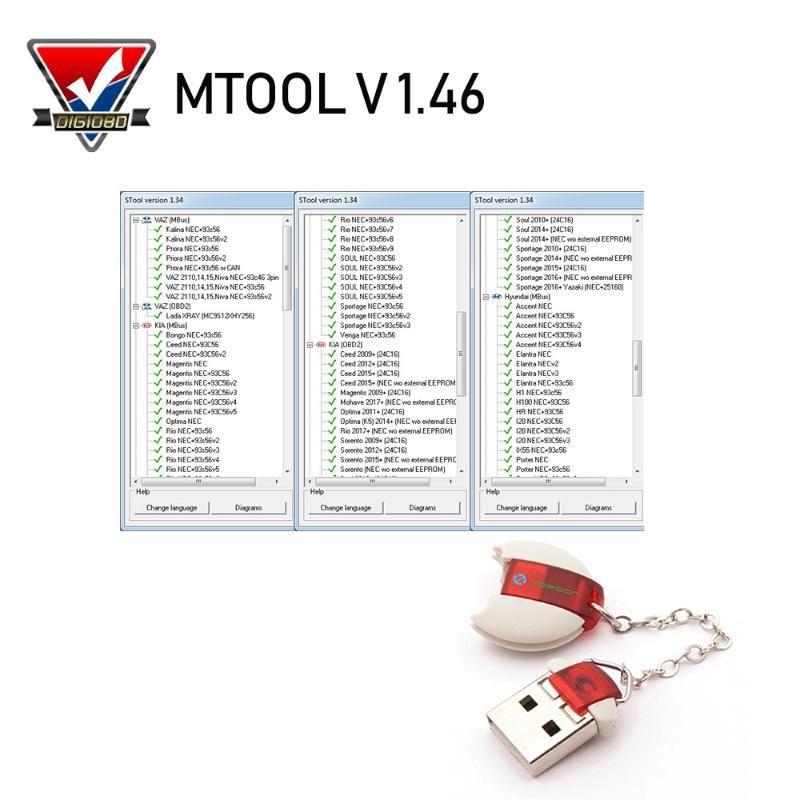 MTool V1.4 6 Regolare il chilometraggio Cambio di automobili OBD M-BUS auto di correzione di distanza in miglia Attrezzo del programmatore di software e adattatore