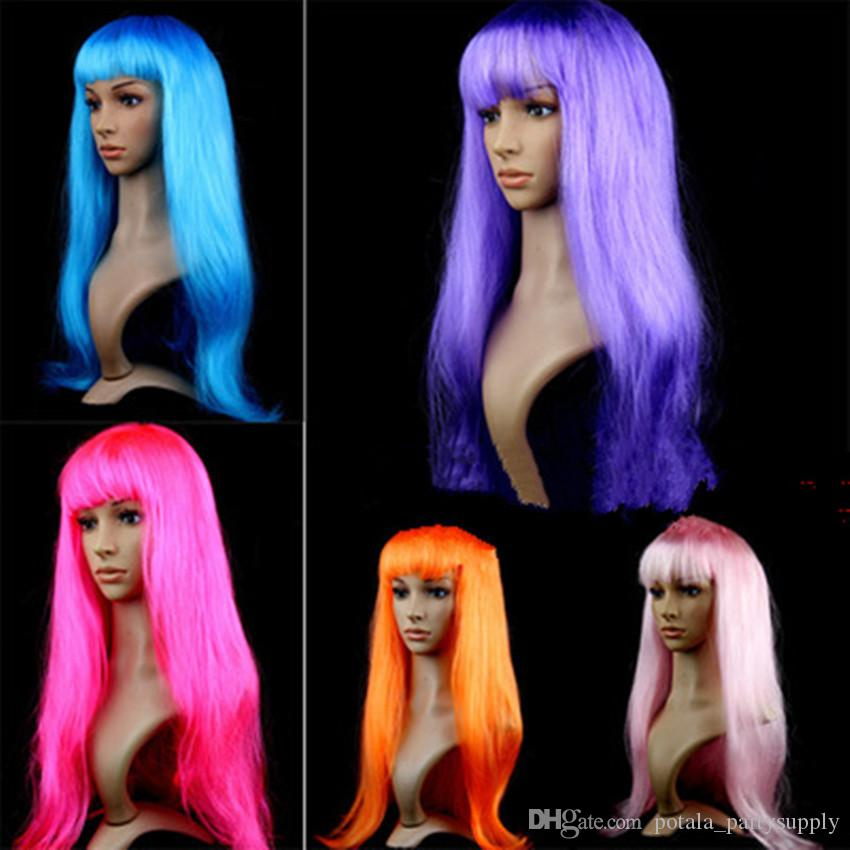 Long Synthetic Wigs Heat Resistant Wig Hair Women's Wig Long Straight Hair Cosplay Costume Blue Purple Beautiful Full Wig for Party Supplies