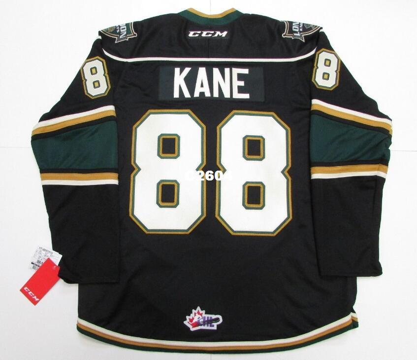 Real Men echter Voll Stickerei # 88 Patrick Kane Ohl London Knights Premier 7185 Hockey Jersey oder benutzerdefinierte beliebige Namen oder Nummer HOCKEY Jersey