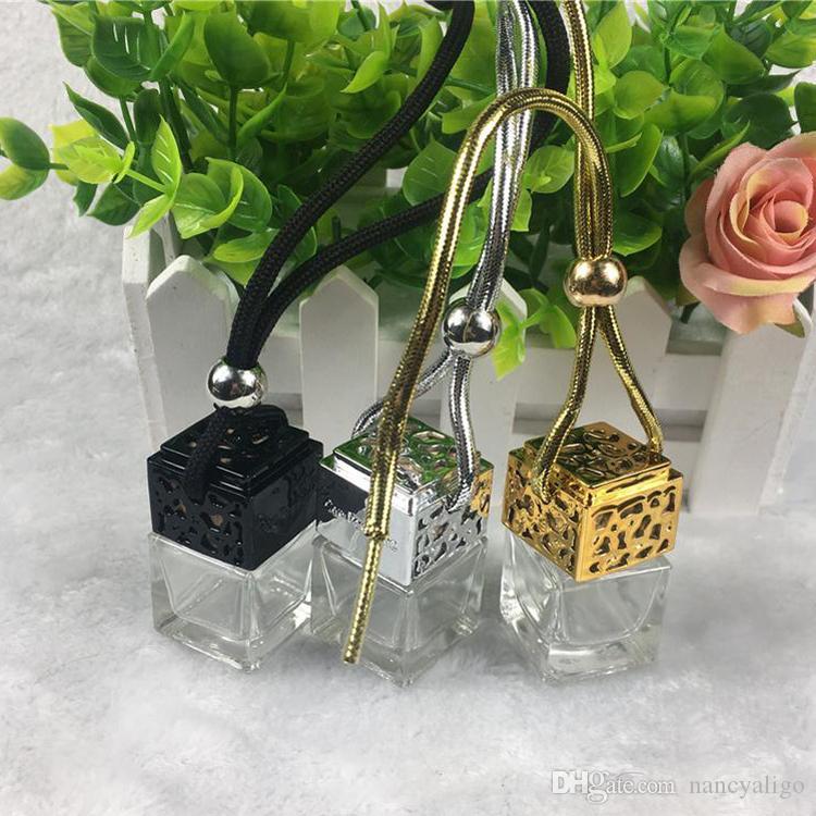 Glas Auto-Duftstoff-Flaschen-Würfel Auto-hängenden Diffusor Ornament Lufterfrischer Fashion Style Fragrance leere Glasflasche 5ml Schwarz Gold Silber