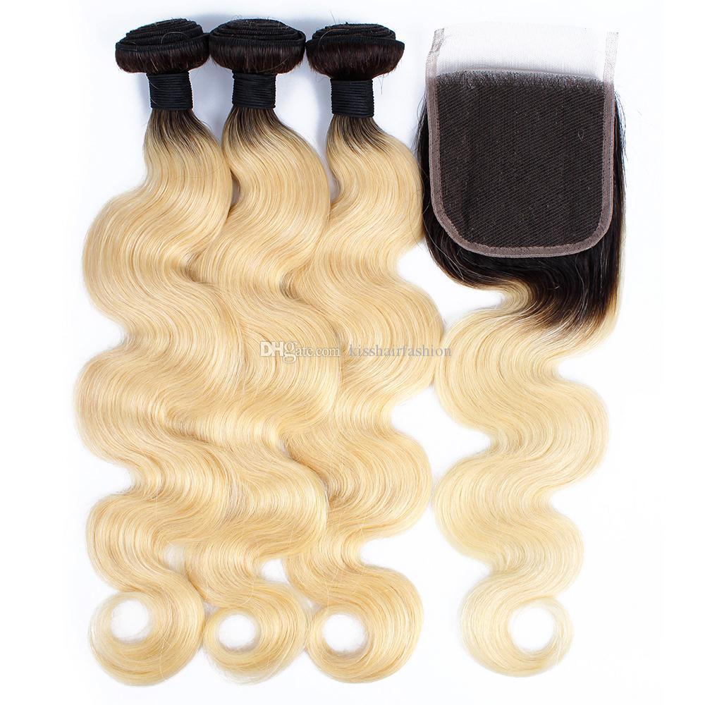 الشعر البرازيلي T1B / 613 شقراء ملحقات 10-28 بوصة الجسم موجة الشعر 3 حزم مع الدانتيل إغلاق المجاني الجزء الأوسط أومبير الشعر البشري