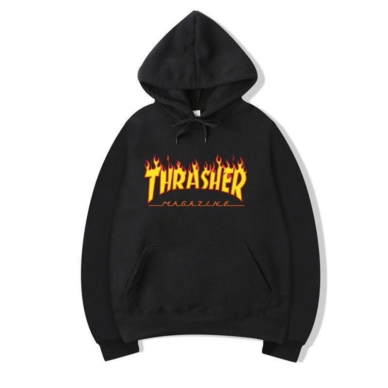 2020 New Spring and Autumn Clothes Thrasher Flame Men and Women Hooded Sweater Couple Fashion Sports Explosion Models Free Shipping