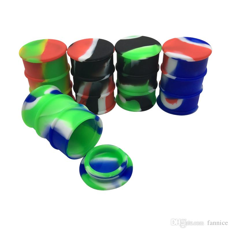 Barril de Petróleo Barrel Container Non-stick 26ml silicone Dab Storage Container Jar Screw Top 20pcs / lot de várias cores