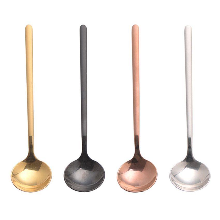 Paslanmaz Çelik kaşık 17cm karıştırma Yuvarlak Gıda Kaşık Çay Scoop baharat Kaşık Dondurma Kaşık Mutfak Sofra takımı A03