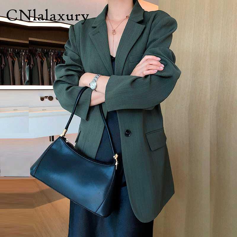 Женщины темно-зеленый Blazer feminino Свободный костюм Vintage Повседневная Пиджаки 2020 осень новый офис леди пальто куртки Femel chaqueta Mujer