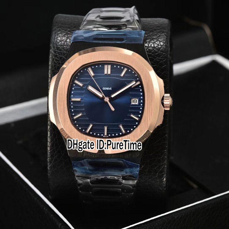 New Classic 5711 PVD Acciaio Two Tone Rose Gold D-Blu Texture Quadrante A2813 Orologio Automatico Uomo Acciaio Orologi 6 colori Puretime 302b2
