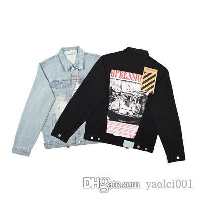 남성 옷깃 OW 데님 재킷 싱글 브레스트면 거리 스티커 남성과 여성 커플 겨울 조수 카드