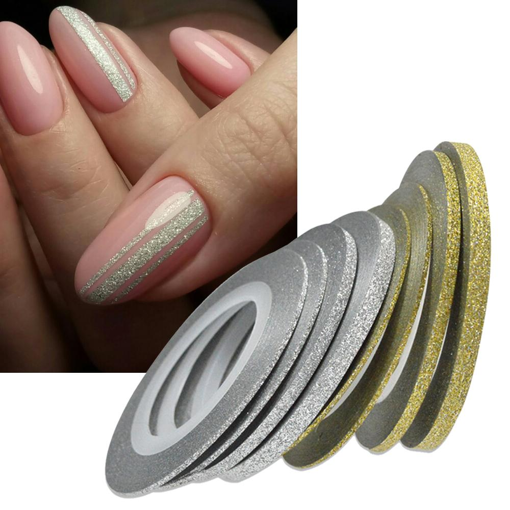 1Nail Art Glitter Gold Silver Stripping Tape Line Strips Decor Tools 1mm2mm3mm Nail Sticker Diy Beauty Accessories