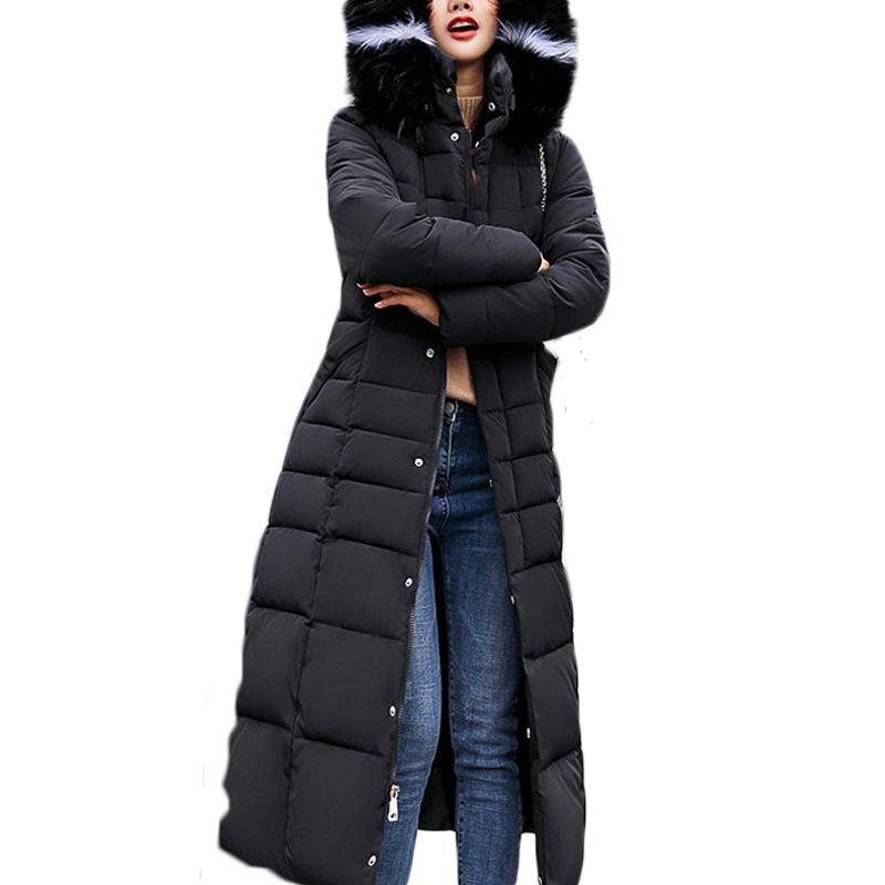Neue Ankunfts-Herbst-Winter-Jacken und Mäntel Frauen Parkas 2019 beiläufige lange Pelz-Kragen-Baumwolle gefütterte Kapuze Parkas Manteau Femme