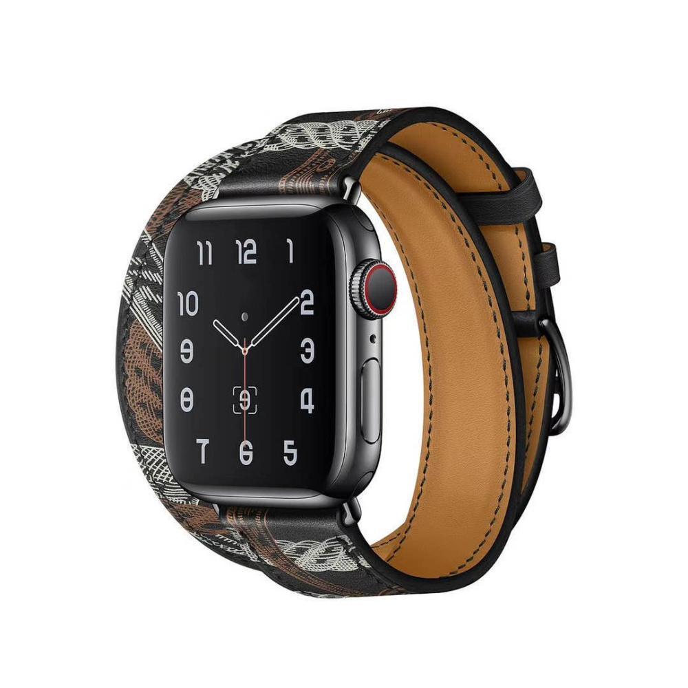 La nueva pulsera de doble bucle de correa de reloj de Apple Band 38mm 40mm 42mm 44mm de cuero genuino para la Serie iWatch 2 3 4 5 Correa con la caja