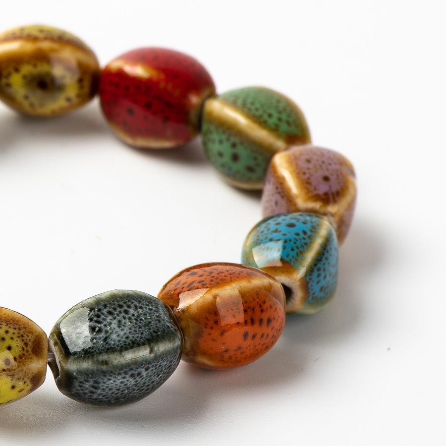 Renkli Eşsiz seramik boncuklar bilezikler eli DIY Artware Retro Mücevher toptan # FY365 bilezik yapılan
