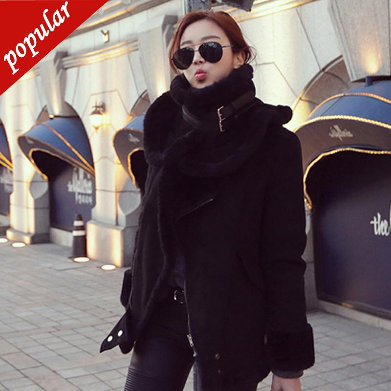 New Winter Women Motorcycle Faux Lambs Wool Coat Female Thick Warm Shearling Coats Faux Suede Leather Jackets Black