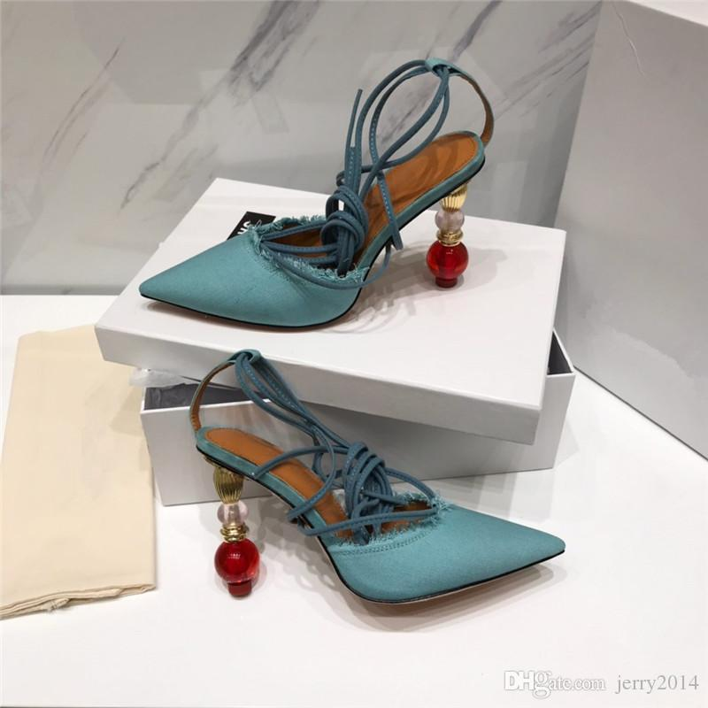 2019 marque designer de luxe femmes chaussures à talons hauts designer de luxe femmes sandales chaussures d'été sexy pompes avec boîte plus la taille