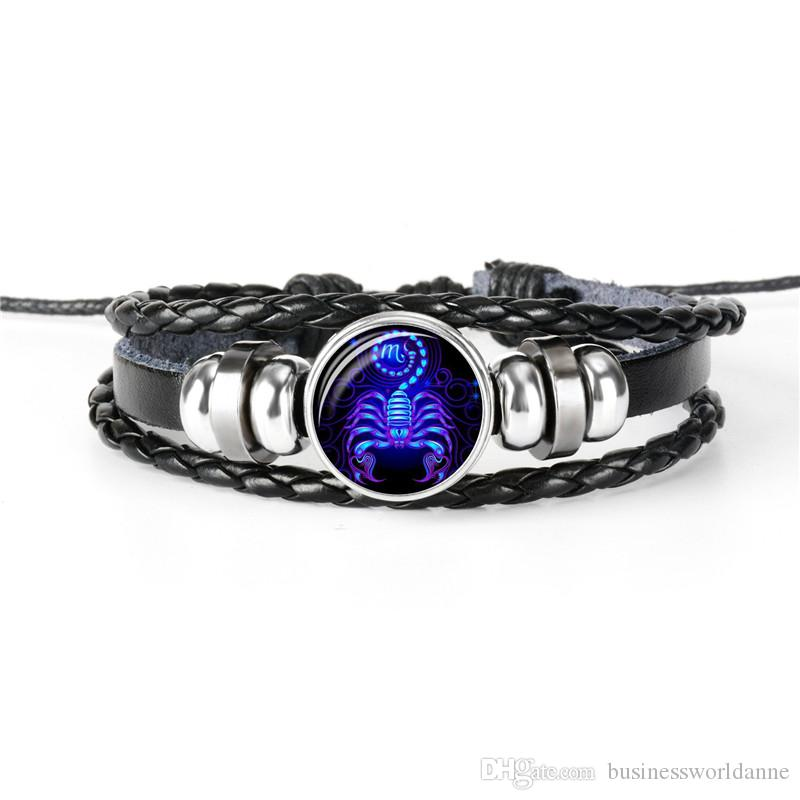 Trendy Black Leather Rope Beaded Bracelet Bangles for Women Men Silver 12 Constellation Zodiac Scorpio Time Gem Glass Jewelry Party 2019 New