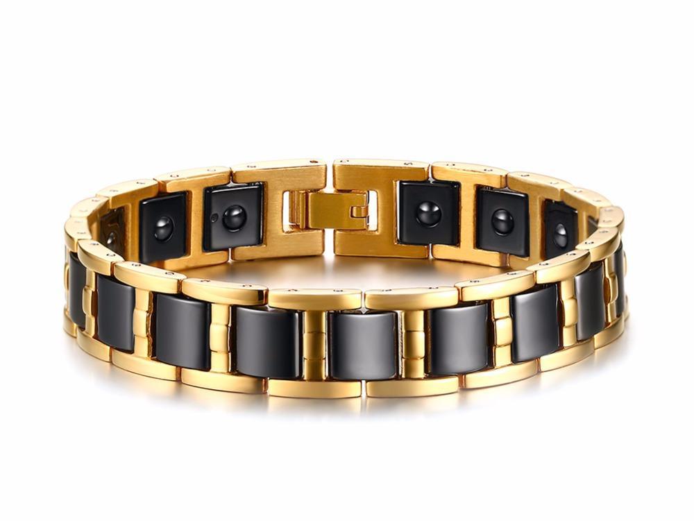Высокое качество мужской браслет черно-золотой цвет нержавеющая сталь с черным керамическим магнитным браслетом браслет для мужчин