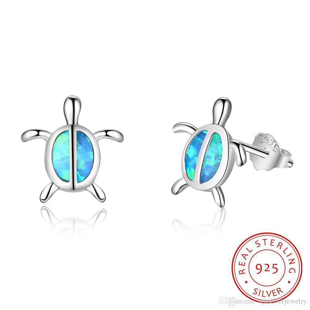 Mücevher Hediyelik ücretsiz gönderim EA102942 kaplumbağa Katı 925 Gümüş saplama Küpe Mavi Lab Opal Taşlar hayvan kaplumbağa Kadınlar