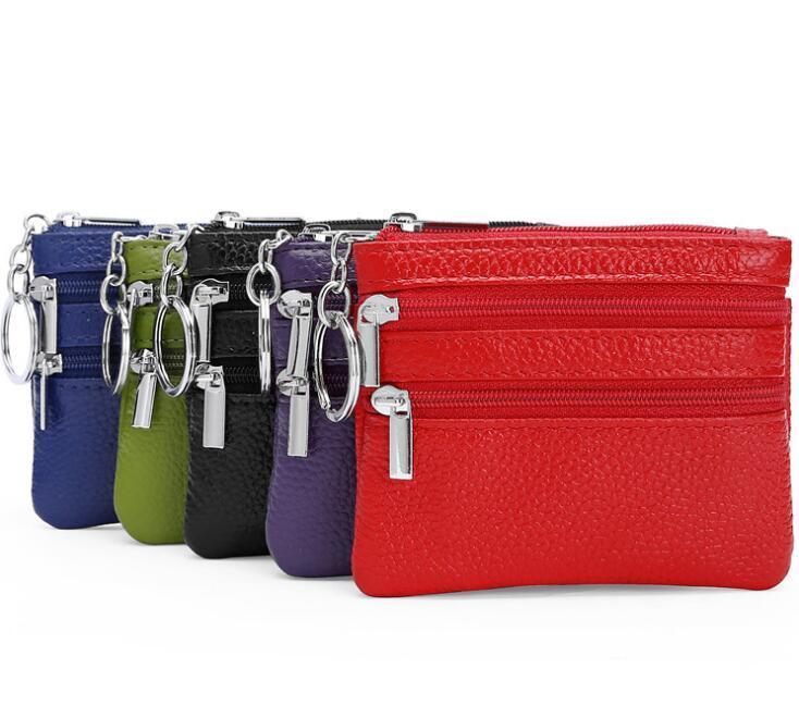 Double Zipper Coin Borses Keychains Keys Keys Portafoglio Cambio Pocket Holder Organizzare il trucco cosmetico