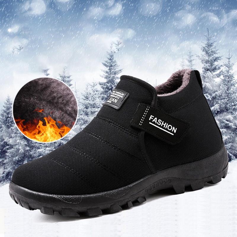 Felpa de los hombres zapatos de invierno botas de nieve caliente piel interior casual botas del tobillo de los hombres Slip-en los zapatos del holgazán de algodón inferior para el padre
