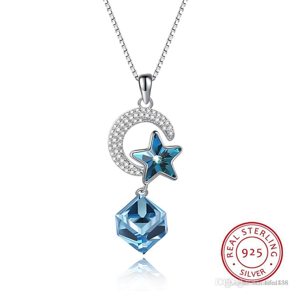 Modeschmuck S925 Sterling Silber Luxus Kristall kommt von der Swarovski Element Star Moon Halskette in Dropshipping mit Geschenkbox