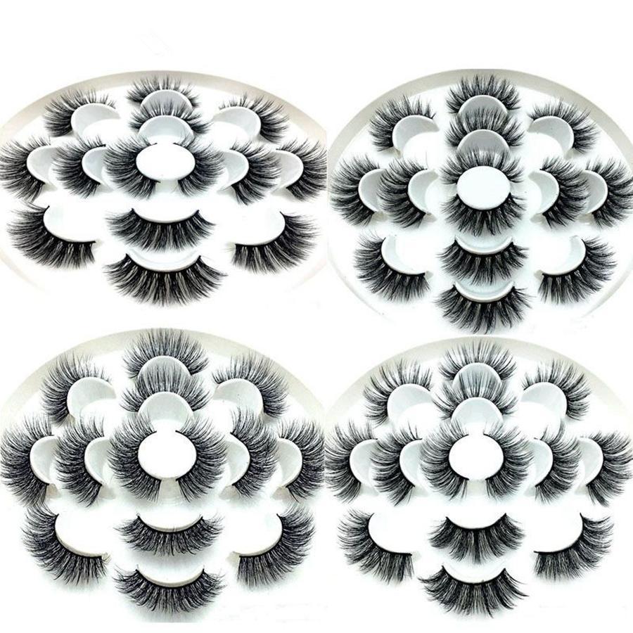 3D Nerz Wimpern Natürliche Falsche Wimpern Lange Wimpernverlängerung Faux Gefälschte Wimpern Makeup Tool 7 Paare / satz RRA649