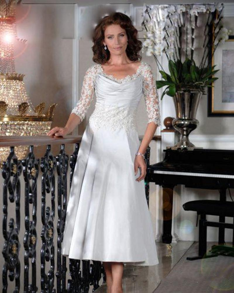 2019 New Elegant Mother Of The Bride Dresses Half Sleeves V Neck Lace Formal Evening Gowns Tea Length Satin Wedding Guest Gowns Custom