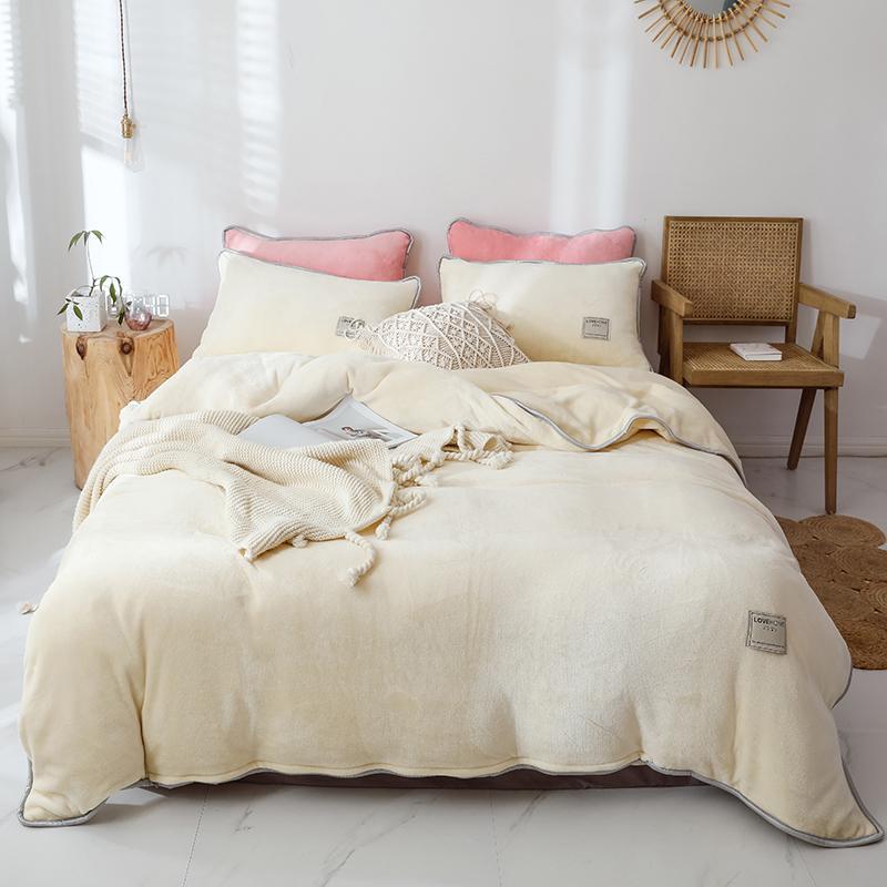 Beige Pink Gray Purple Blue Solid Color Winter Thick Fleece Fabric Bedding set Velvet Flannel Duvet Cover Bed sheet Pillowcases