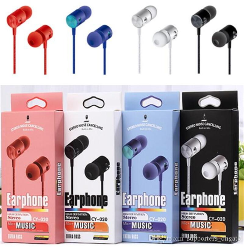 Hot sell Earphones 3.5MM in-ear Headphones CY-020 Hands Free Universal bass Stereo headset Earbuds mic with retail package for Mobile phone