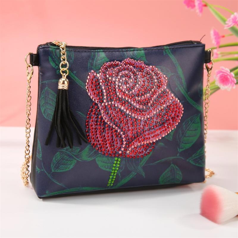 여성 DIY 다이아몬드 회화 체인 가방 DIY 자수 술 클러치 가방 숙녀의 손 가방 지갑을위한 꽃 가죽 크로스 바디 백