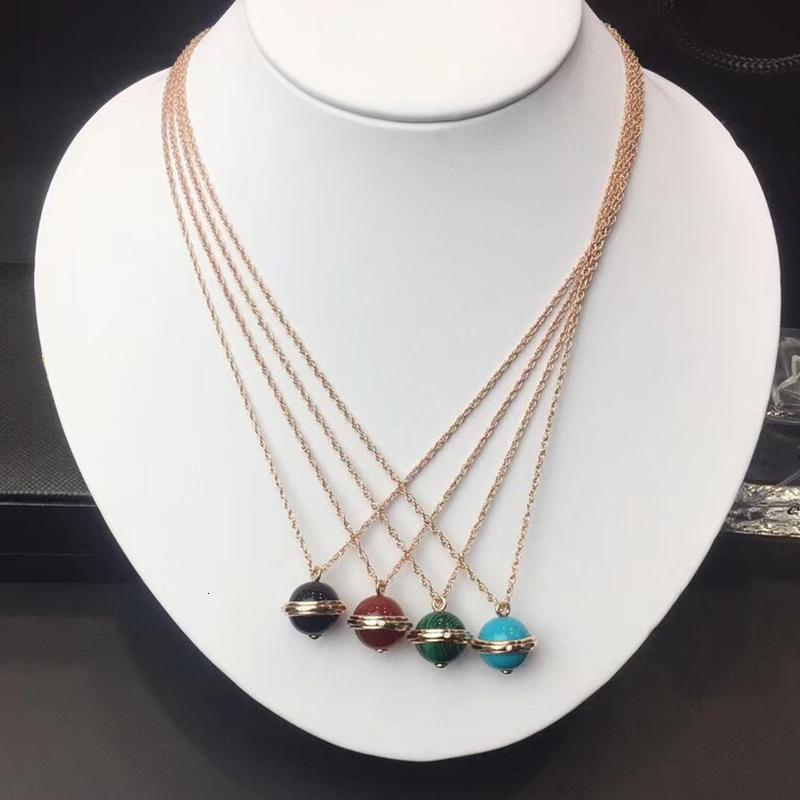 925 joyería de plata esterlina para el partido collar Luxcy cuentas de collar de oro rosa de las mujeres de la bola de colores colgantes Jewelr