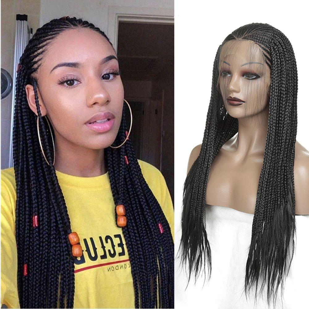 Sintética del frente del cordón de la trenza de pelucas para mujeres Negro barato de fibra resistente al calor del trenzado del pelo sin cola lacefront afroamericano trenzado peluca Wit