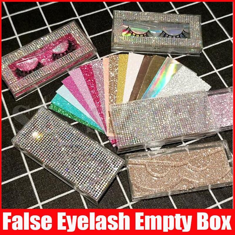 Bling Eyelash Packaging Diamond Glitter rectangle False Eyelashes Packaging Box Empty EyeLash Box Case Fake Eye Lashes Plastic Boxes