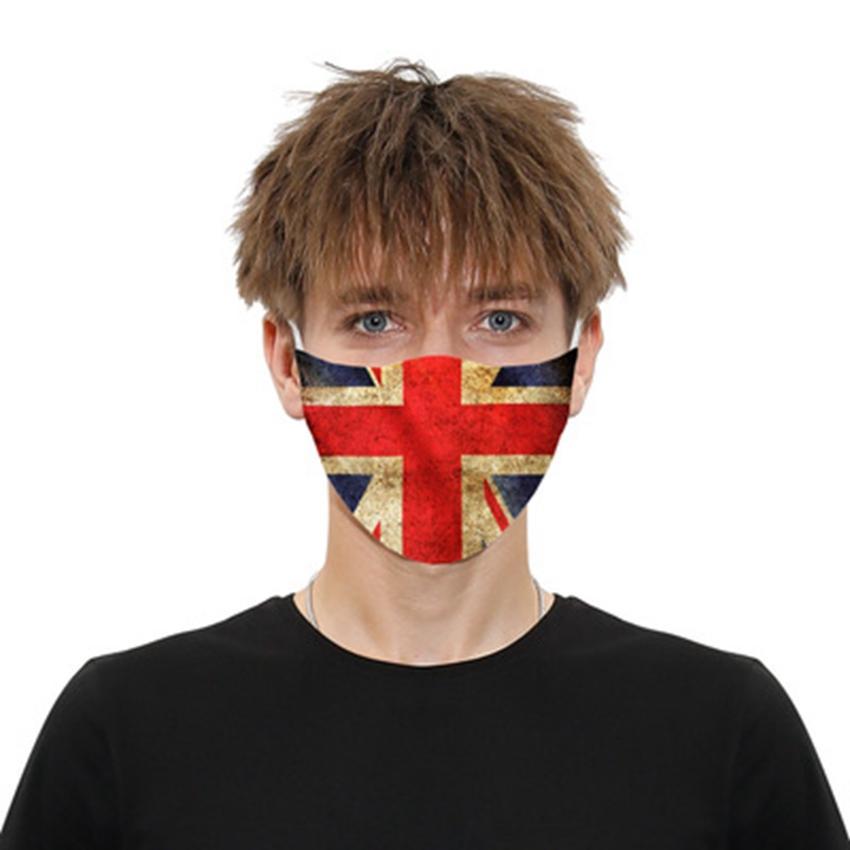 Детские и многоразовые маски для лица Моющийся взрослый анти-дымчатый пылезащитный флаг с American ZZA2147 PM2.5 Маска напечатанные 2 шт. Фильтры Британия Урву