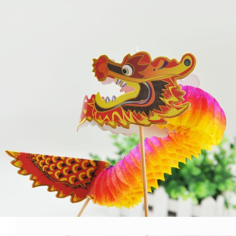 장식을 매달려 무료 배송 2 개 팩 3D 중국 용 휴지 꽃 공 설날 장식 벌집