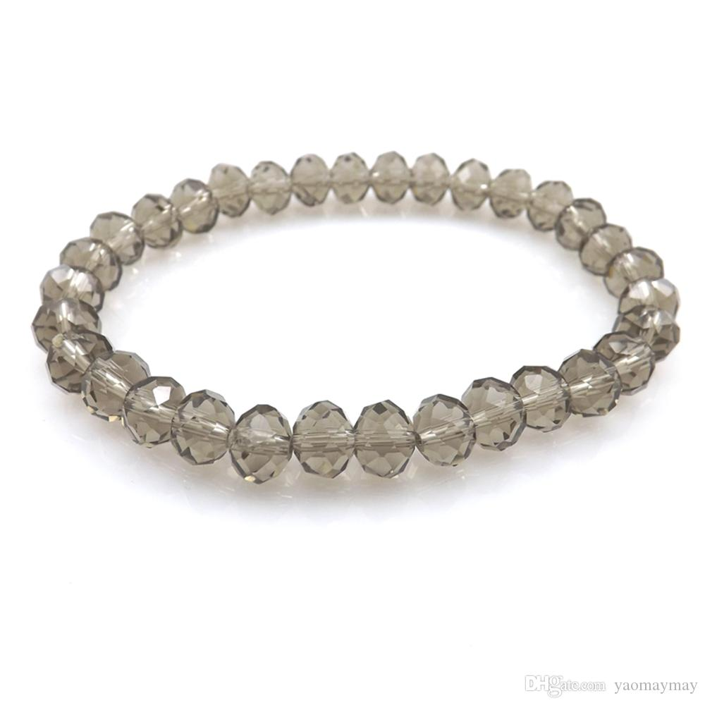 Grey Color 8mm Faceted Crystal Beaded Bracelet For Women Simple Style Stretchy Bracelets 20pcs/lot Wholesale