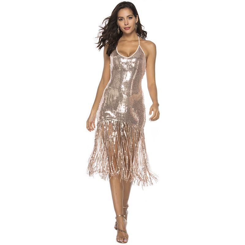 2019 Новый стиль женщин сексуальный ночной клуб Холтер платье бахромой блестками горячая юбка ну вечеринку костюм королевы