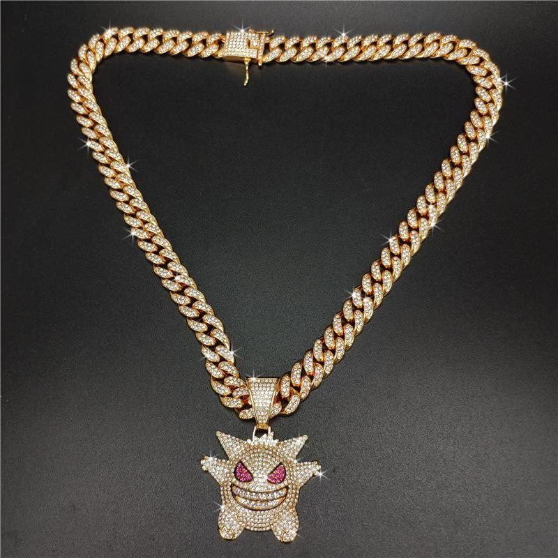 Correntes geladas pingente para homens hip hop bling chifres jóias homens diamante pulseira de tênis com 2 cores