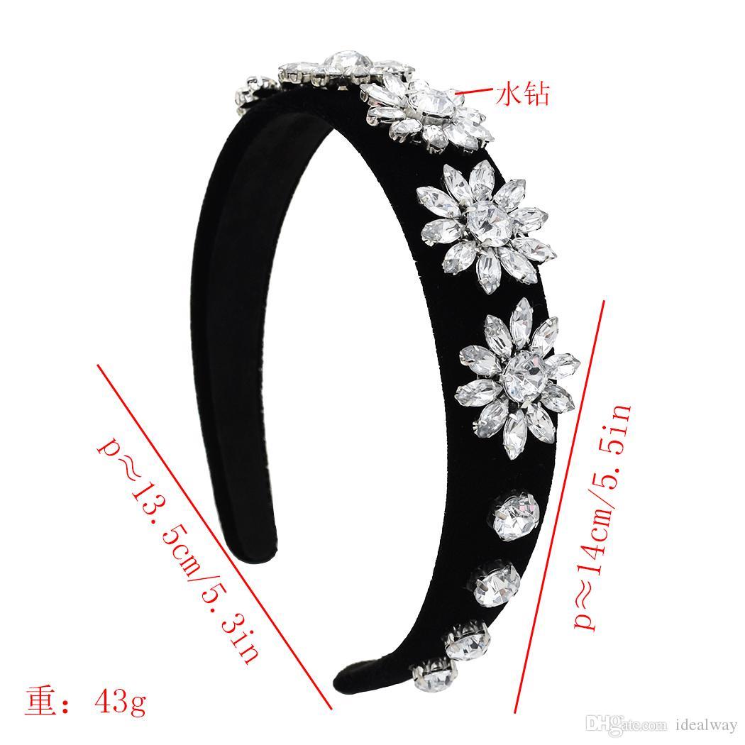 Rhinestone de la flor del pelo cinta temperamento sencillo tocado hermoso elegante accesorio para el pelo clásica