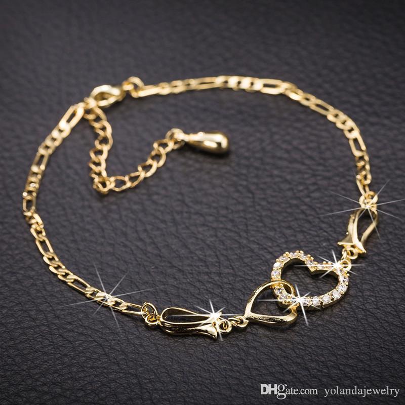 Moda verão mulheres encantar pulseiras para mulheres 18k amarelo banhado de ouro alta qualidade Cz coração para pulseira de coração para meninas mulheres