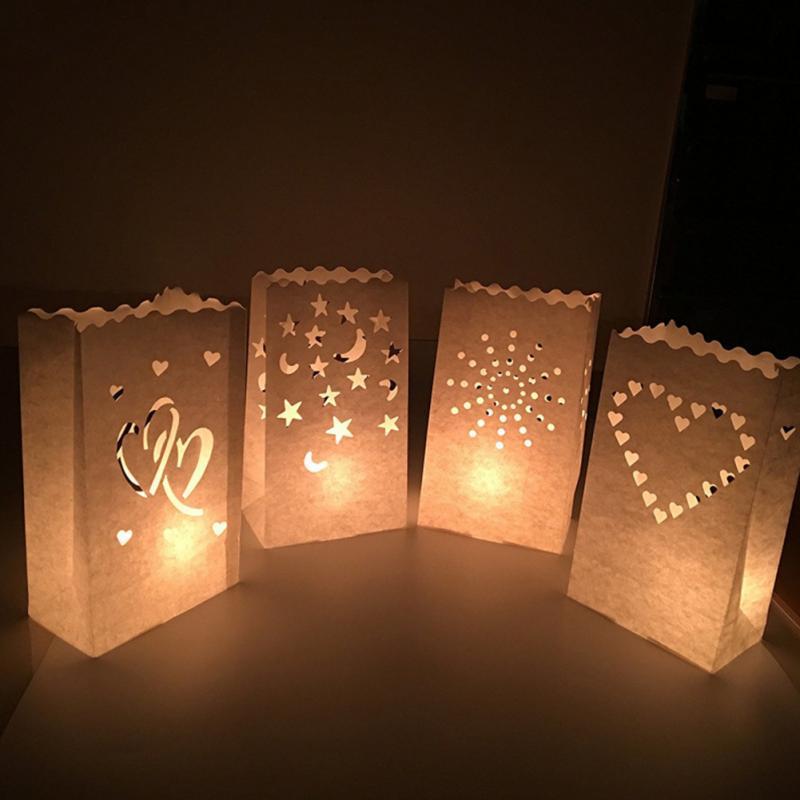 20pcs / lot contexto de la boda Decoración Vela papel ignífugo bolsa de papel de bricolaje Festival de las linternas decorativo al aire libre de la vela bolsa en forma de corazón