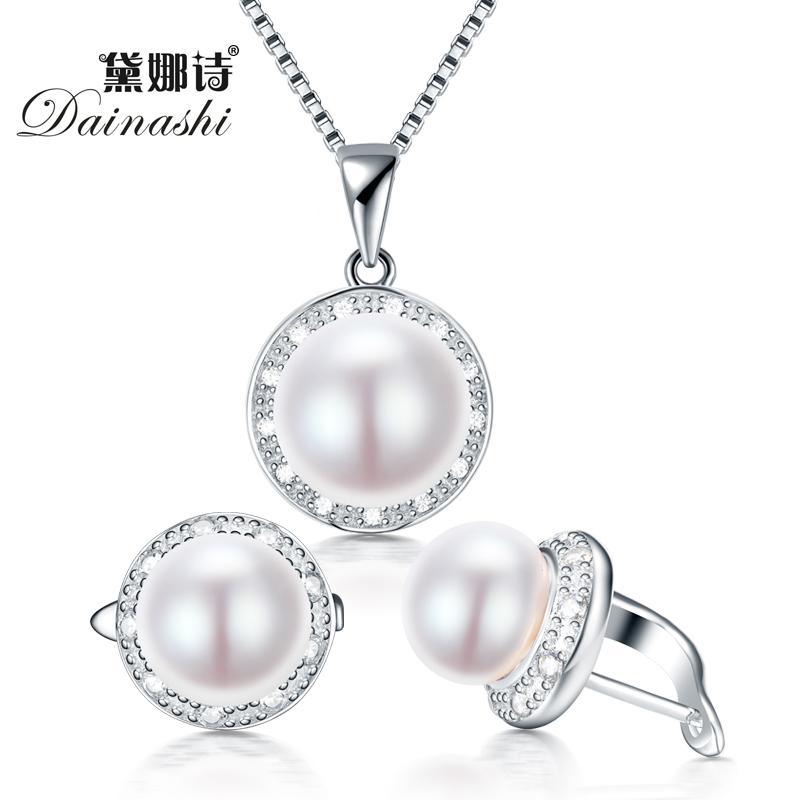 Dainashi реального пресноводного жемчуга комплект ювелирных изделий с кулоном скольжения и обручем серьги ожерелье с 925 для женщин